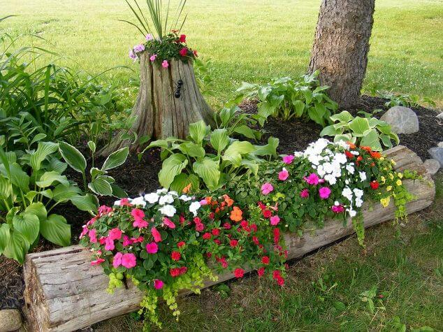 14 Rustic Log Planters Front Yard Landscaping Ideas
