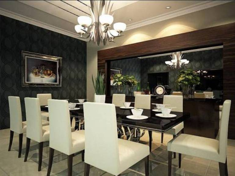 4. Luxurious Dining Room Wall Decor With Mirror