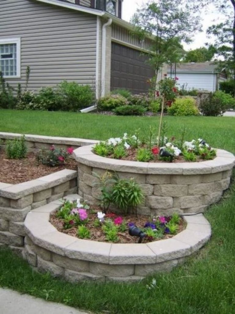 Tiered Block Beds Front Yard Landscaping Ideas