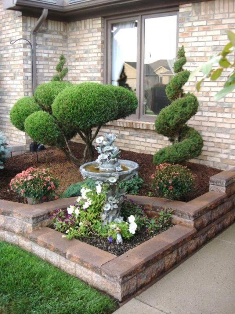 51 simple front yard landscaping ideas on a budget for Easy care front gardens