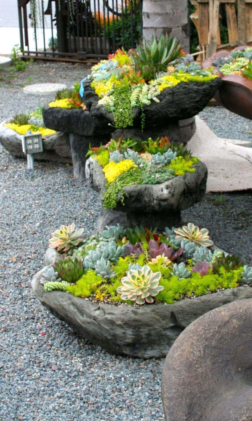 Front Yard Landscaping Ideas - Showy Succulent Stone Planters - Harpmagazine