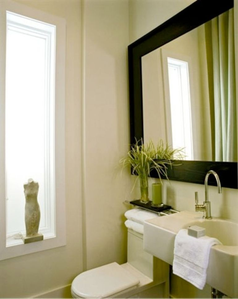 Clean Bathroom Mirror Ideas With Large Framed Mirror