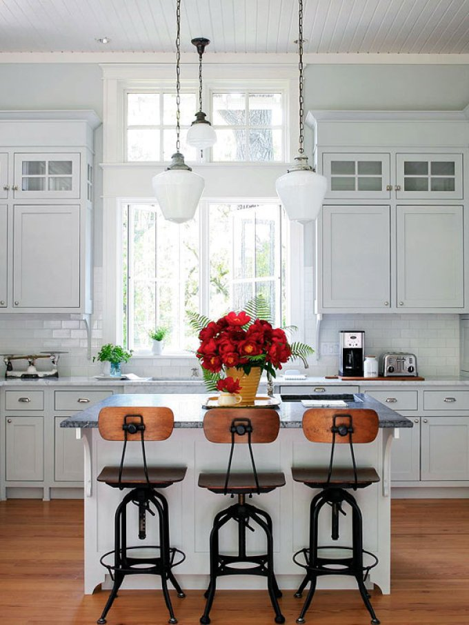 Kitchen Lighting Ideas - Old-Fashioned Glass Light Fixture - harpmagazine.com