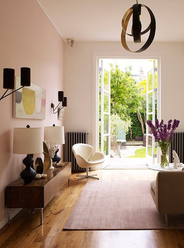 Accent Wall Ideas - Soften with Soothing Pink - harpmagazine.com