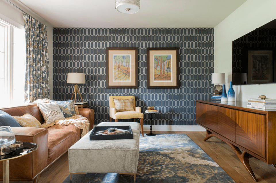 Geometric Living Room Accent Wall Ideas