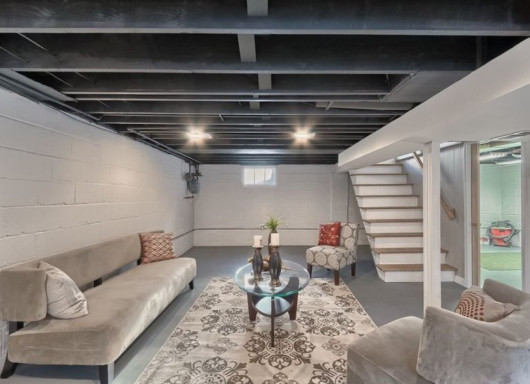 Basement Ceiling Ideas - Painted Rafters - harpmagazine.com