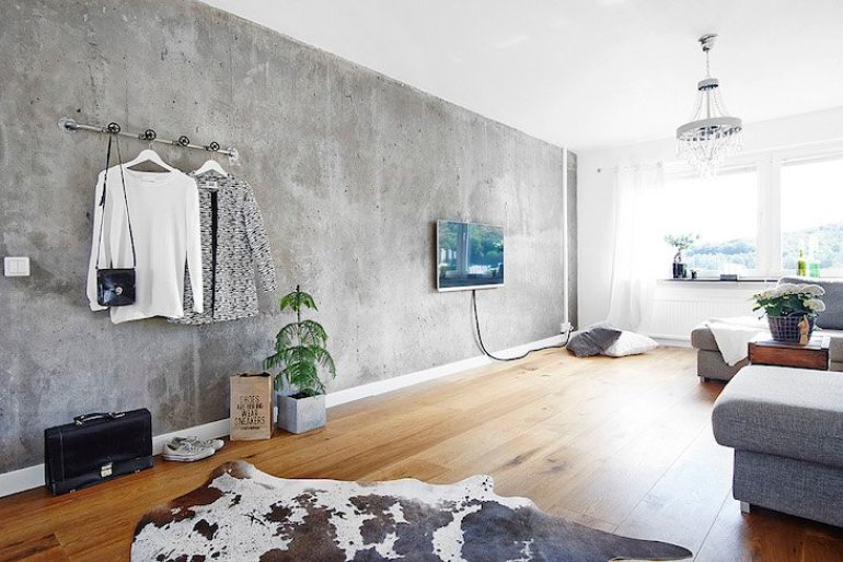 Accent Wall Ideas - Concrete - harpmagazine.com