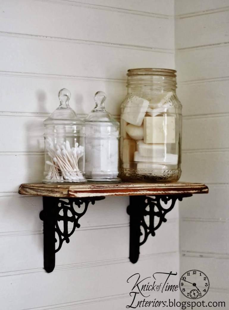 Farmhouse Bathroom Decor Ideas - Rustic DIY Bathroom Wall Shelf - harpmagazine.com