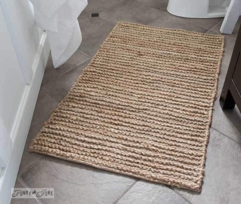 Farmhouse Bathroom Decor Ideas - Rustic Sisal Farmhouse Bathroom Rug - harpmagazine.com
