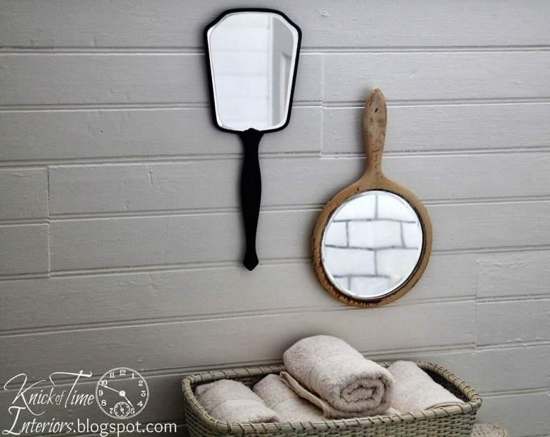 Farmhouse Bathroom Decor Ideas - Vintage Hand Mirrors Wall Decoration - harpmagazine.com