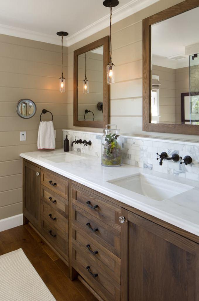 Farmhouse Bathroom Decor Ideas - Wood Farmhouse Vanity with Aged Bronze Fixtures - harpmagazine.com