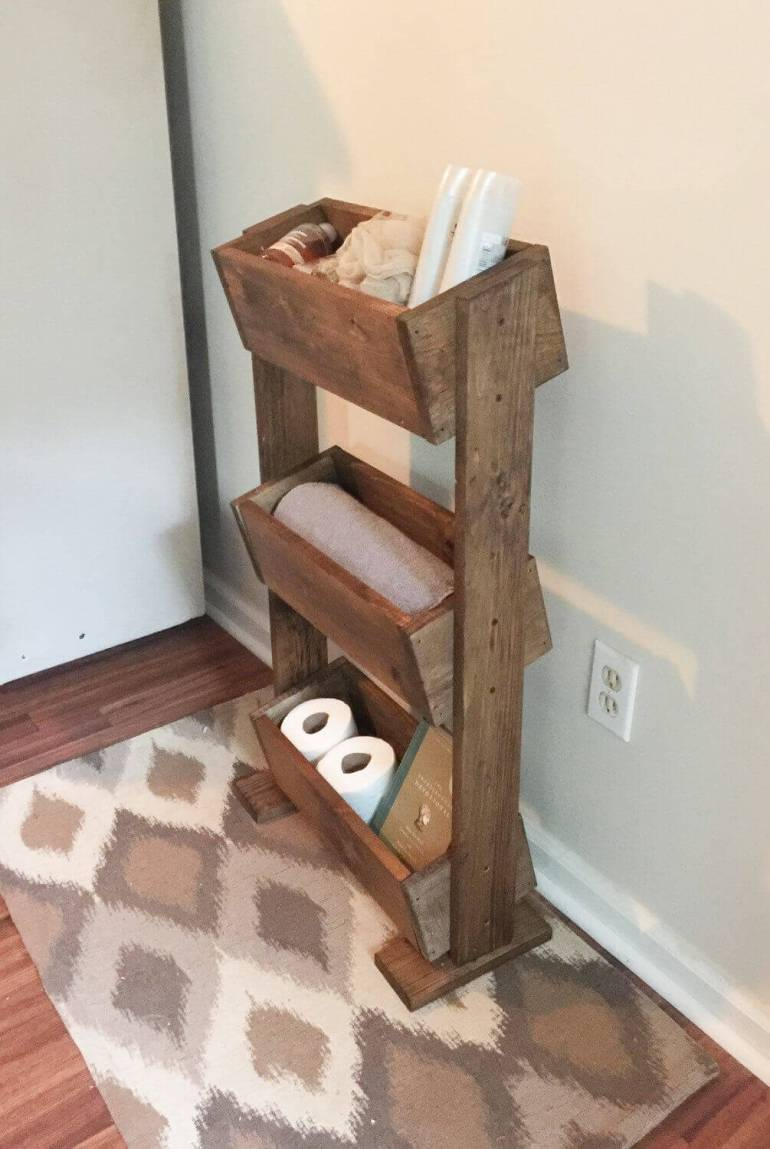 Farmhouse Bathroom Decor Ideas - Tiered Wooden Box Bathroom Storage Idea - harpmagazine.com