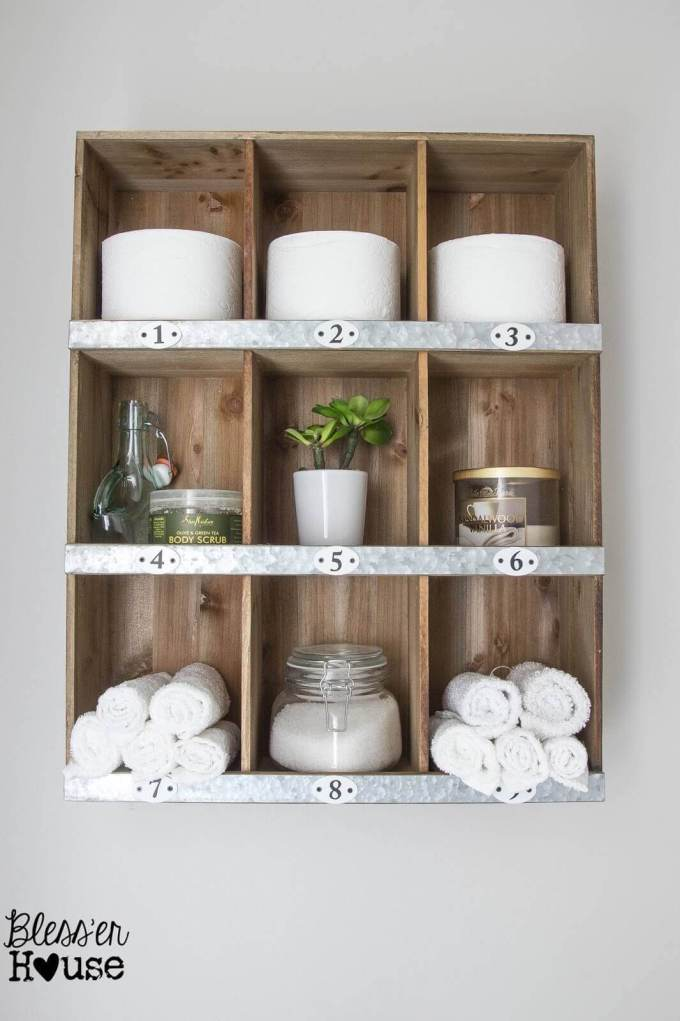 Farmhouse Bathroom Decor Ideas - DIY Wood and Metal Cubby Organizer - harpmagazine.com