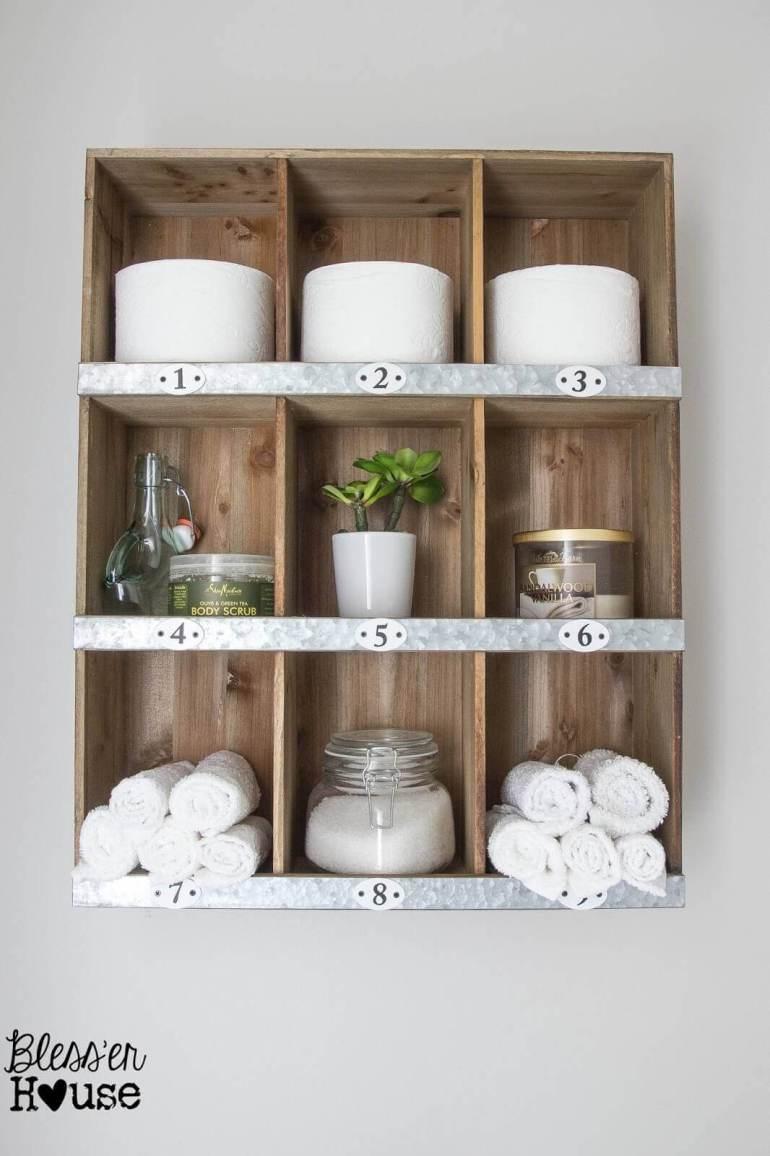 Farmhouse Bathroom Decor Ideas - DIY Wood and Metal Cubby Organizer - harpmagazine.com