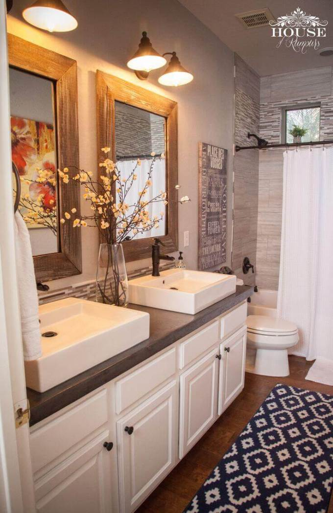 Farmhouse Bathroom Decor Ideas - DIY Concrete Farmhouse Bathroom Countertop - harpmagazine.com