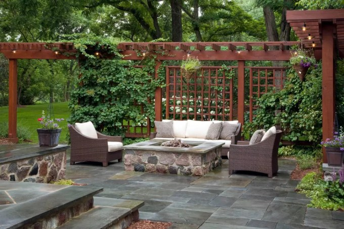 Pavers Patio Idea with Pergola - harpmagazine.com