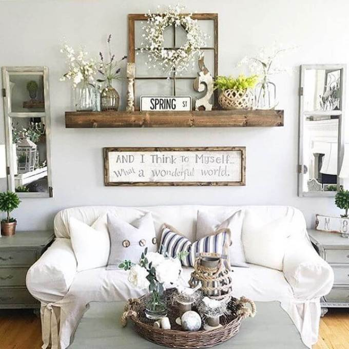 Rustic Wall Decor Ideas - Rustic Wall Decor Idea Featuring Reclaimed Window Frames - harpmagazine.com
