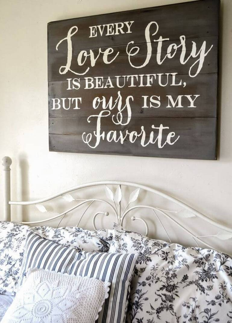 Wood Signs Ideas - Hand-lettered Headboard Sign - harpmagazine.com