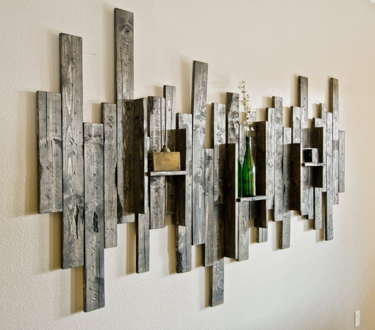 Rustic Wall Decor Ideas - Abstract Wall Art and Shelf from Rustic Barn Wood - harpmagazine.com