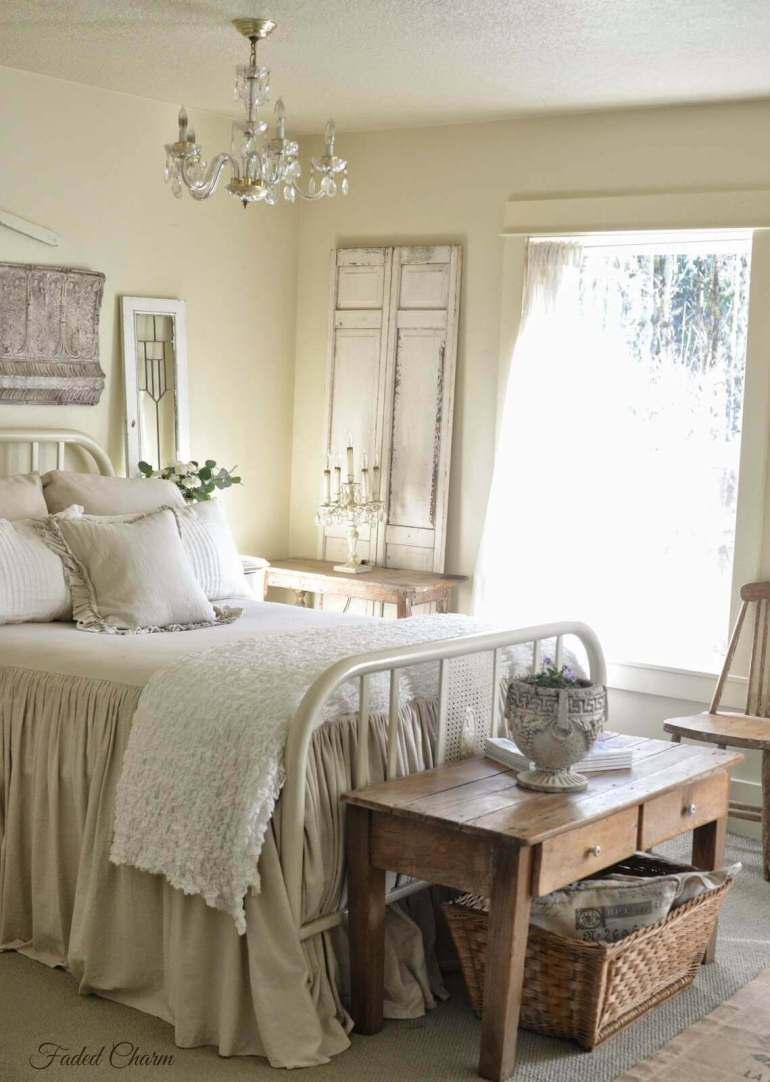 French Country Decor Ideas - Charming Bedroom with Antique Bed Frame - Harpmagazine.com