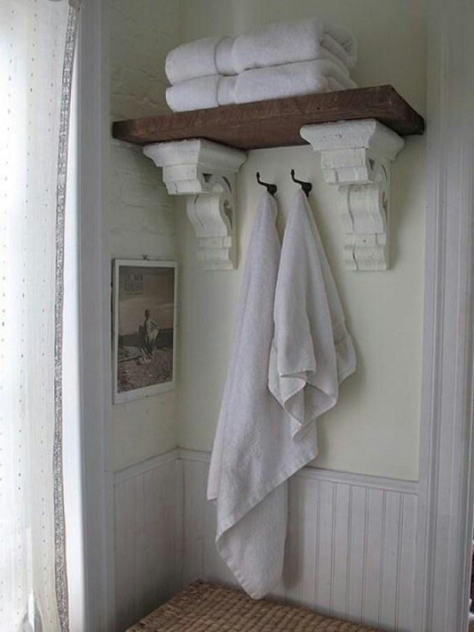 Rustic Bathroom Decor Ideas - Reclaimed Cornice Shelving - harpmagazine.com