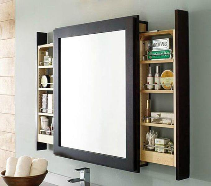 Storage Ideas for Small Spaces - Sliding Shelves Mounted Behind Bathroom Mirror - Harpmagazine.com