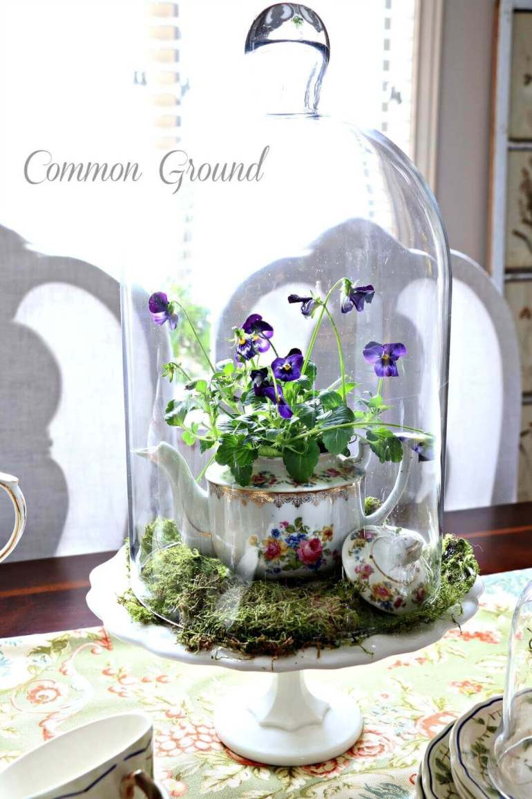 French Country Decor Ideas - Sweet Teapot Planter Cloche Centerpiece - Harpmagazine.com