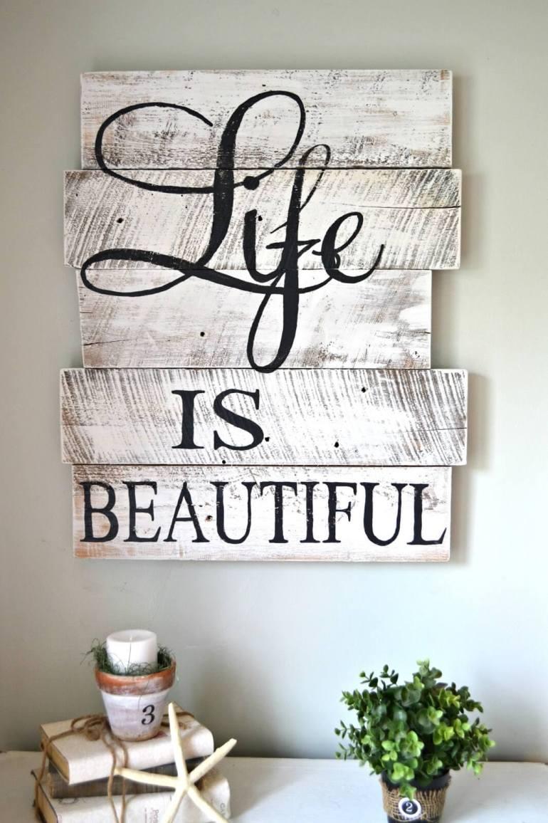 "Rustic Wall Decor Ideas - Hand-painted Whitewashed ""Life Is Beautiful"" Sign - harpmagazine.com"