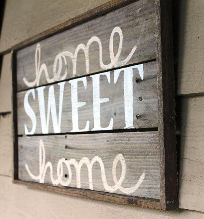 "Wood Signs Ideas - Framed Lumber ""Home Sweet Home"" Wall Hanging - harpmagazine.com"
