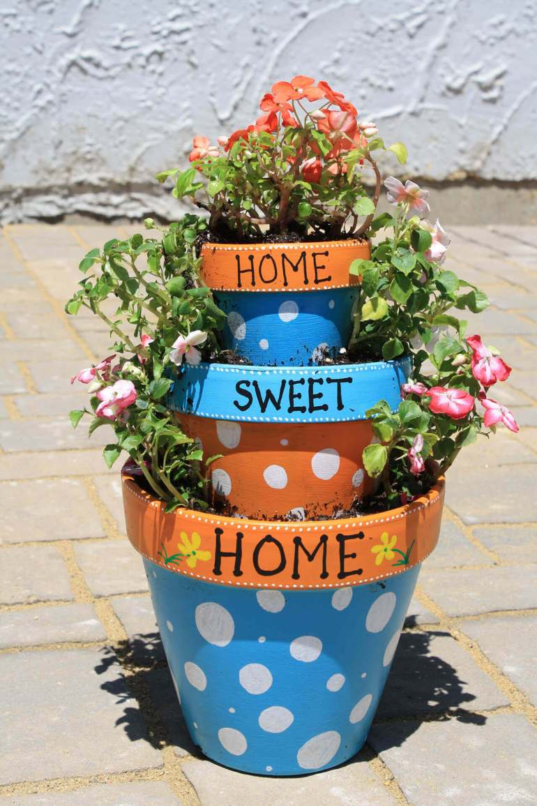 Front Door Flower Pots Ideas - Home Sweet Home Tiered Flower Pot Planter - harpmagazine.com