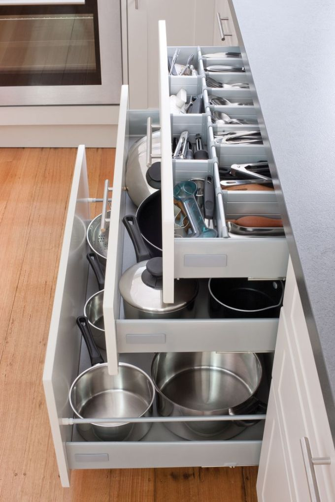 Storage Ideas for Small Spaces - Sliding Drawers Make Sink Storage Simple - Harpmagazine.com