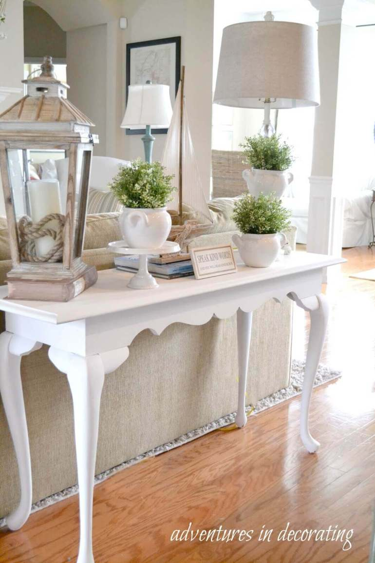French Country Decor Ideas - White Couch Table with Oversized Accessories - Harpmagazine.com