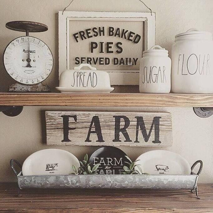 Farmhouse Kitchen Decor Design Ideas - Old Country Store Hand-Lettered Labeling - harpmagazine.com