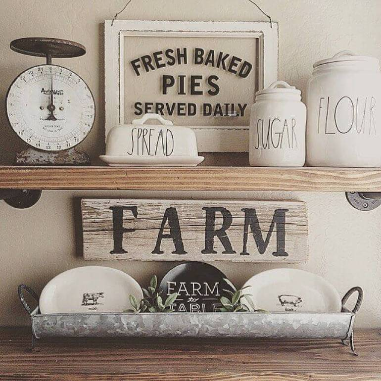 Farmhouse Kitchen Decor Design Ideas - Old Country Store Hand-Lettered Labeling - harpmagazine.com
