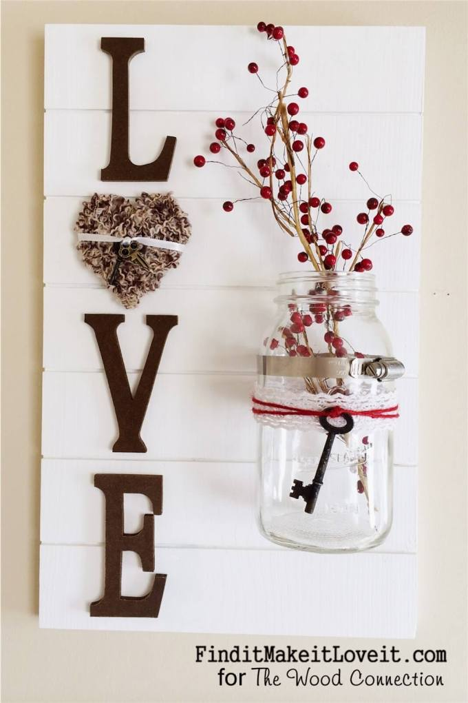 Rustic Wall Decor Ideas - Rustic Wall Decoration with Mason Jar Vase - harpmagazine.com