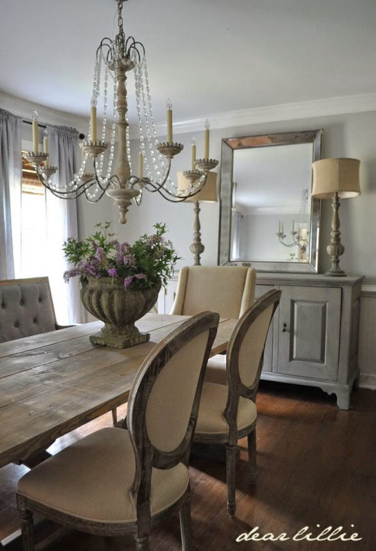 French Country Decor Ideas - Dining Room with Plush Chairs and Credenza - Harpmagazine.com
