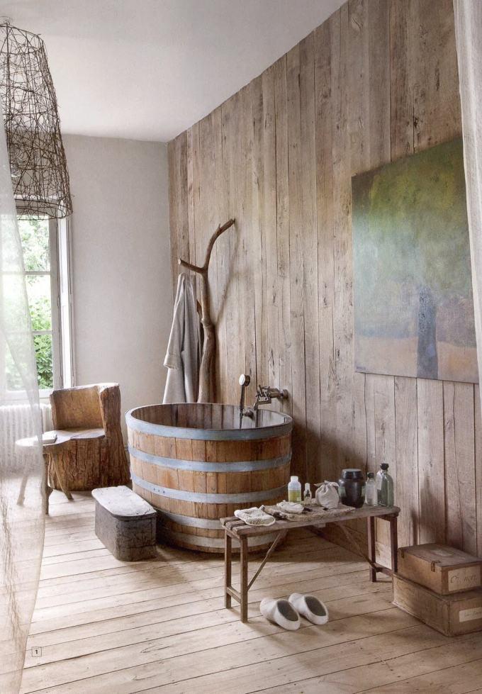 Rustic Bathroom Decor Ideas - Giant Half-barrel Soaking Tub - harpmagazine.com