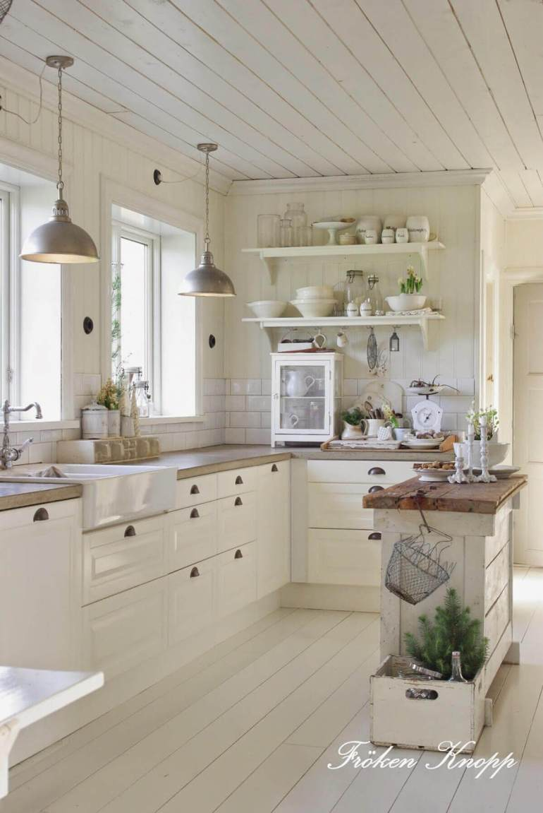 French Country Decor Ideas - French Country Kitchen with Butcherblock Island - Harpmagazine.com
