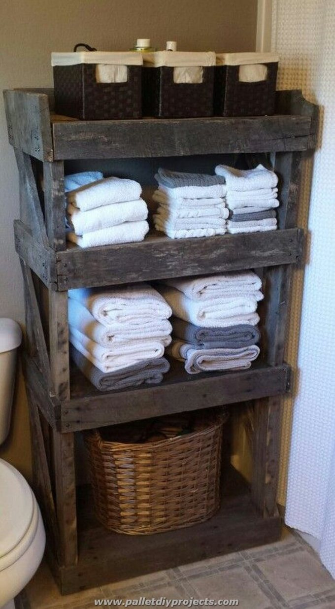 Rustic Bathroom Decor Ideas - Open Barn Wood Shelving - harpmagazine.com