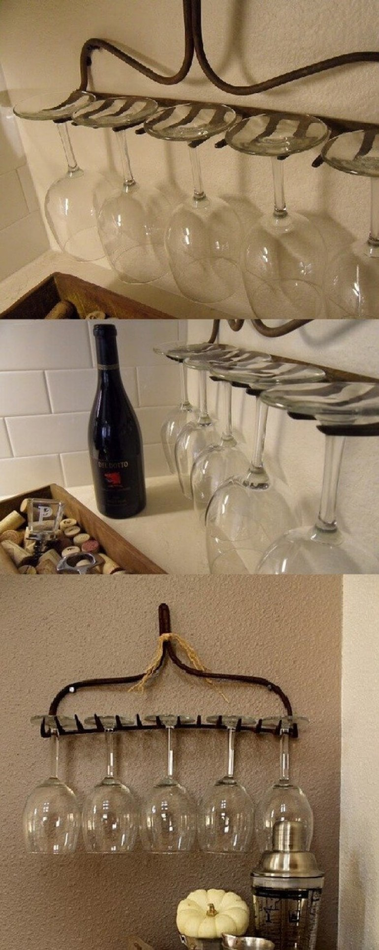 Farmhouse Kitchen Decor Design Ideas - Salvaged Antique Rake Wineglass Holder - harpmagazine.com