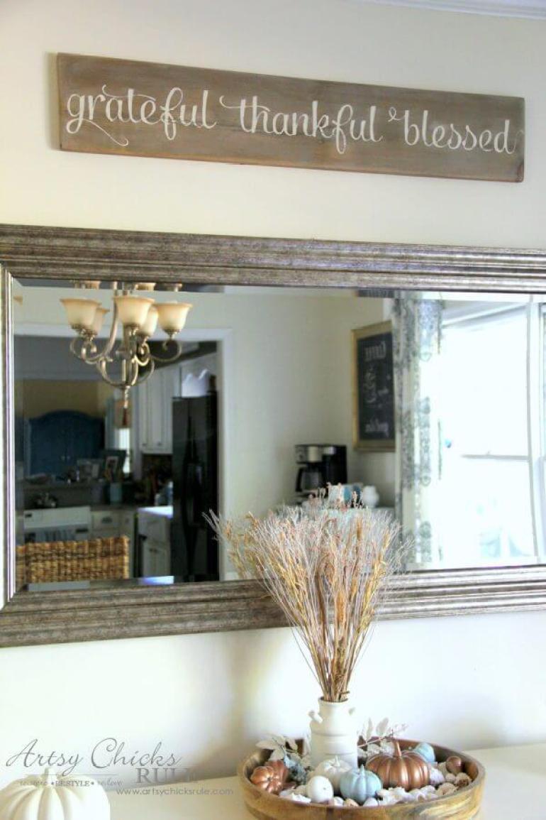 Wood Signs Ideas - Entry Hall Wood Sign Decoration with Elegant Script - harpmagazine.com