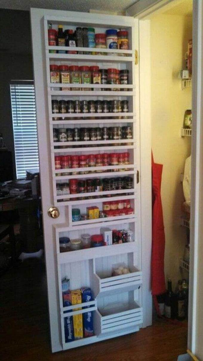 Storage Ideas for Small Spaces - Pantry Door Transformed Into a Spice Rack - Harpmagazine.com