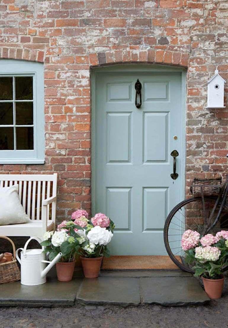 Front Door Flower Pots Ideas - Springtime Hydrangea Front Porch Pots - harpmagazine.com