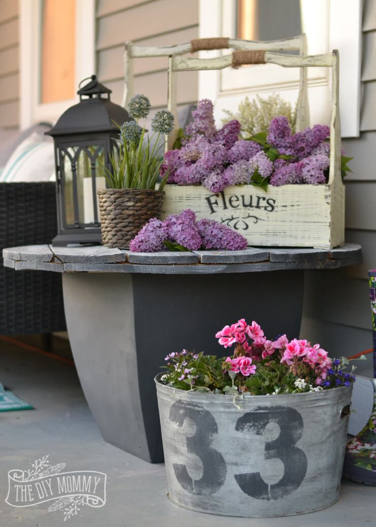 Farmhouse Porch Decorating Ideas - Shades Of (Rustic) Gray Repurposed Table & Planters - Harpmagazine.com