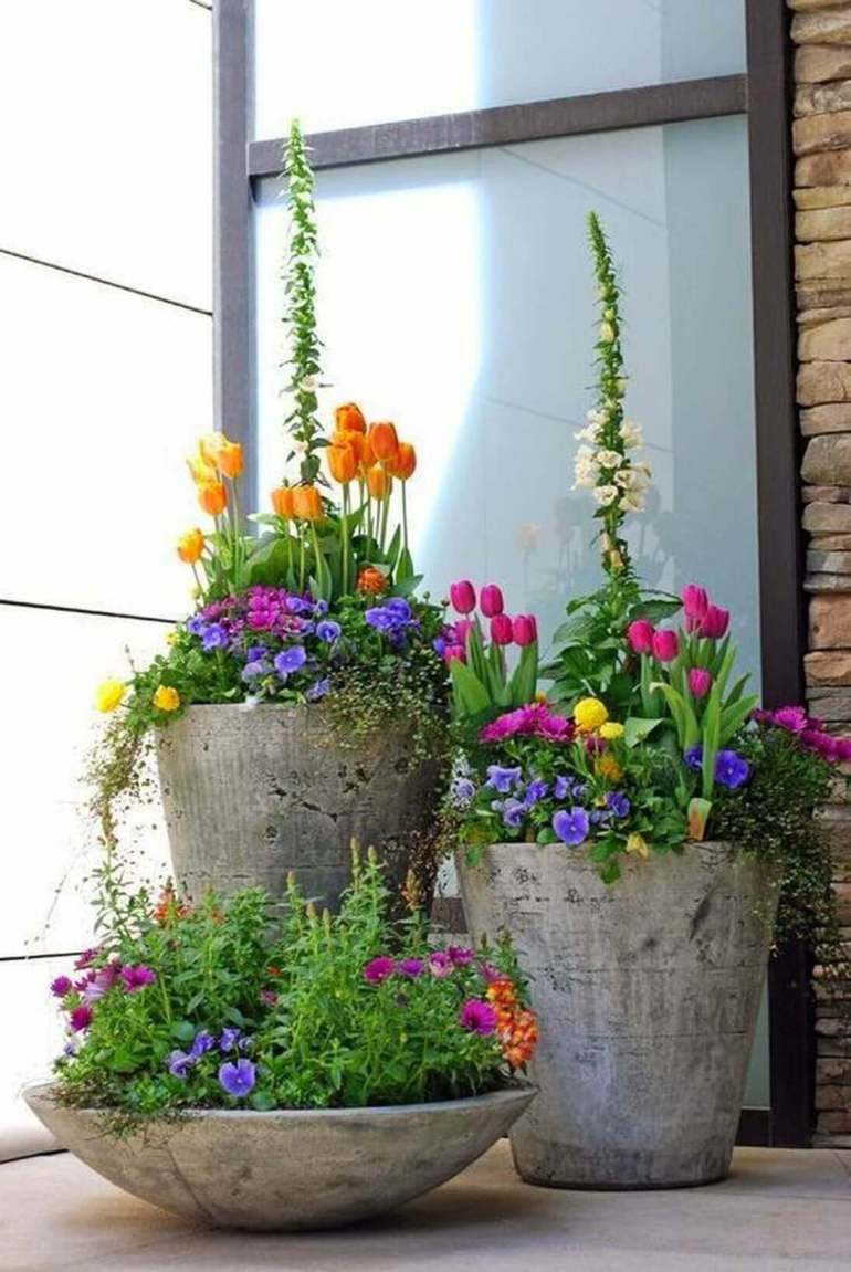 Front Door Flower Pots Ideas - Concrete Spring Flower Pot Display - harpmagazine.com