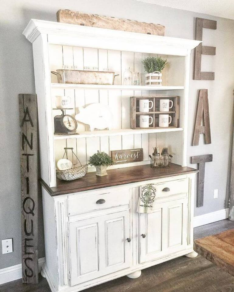 Farmhouse Kitchen Decor Design Ideas - Farmhouse Kitchen Baker's Hutch - harpmagazine.com