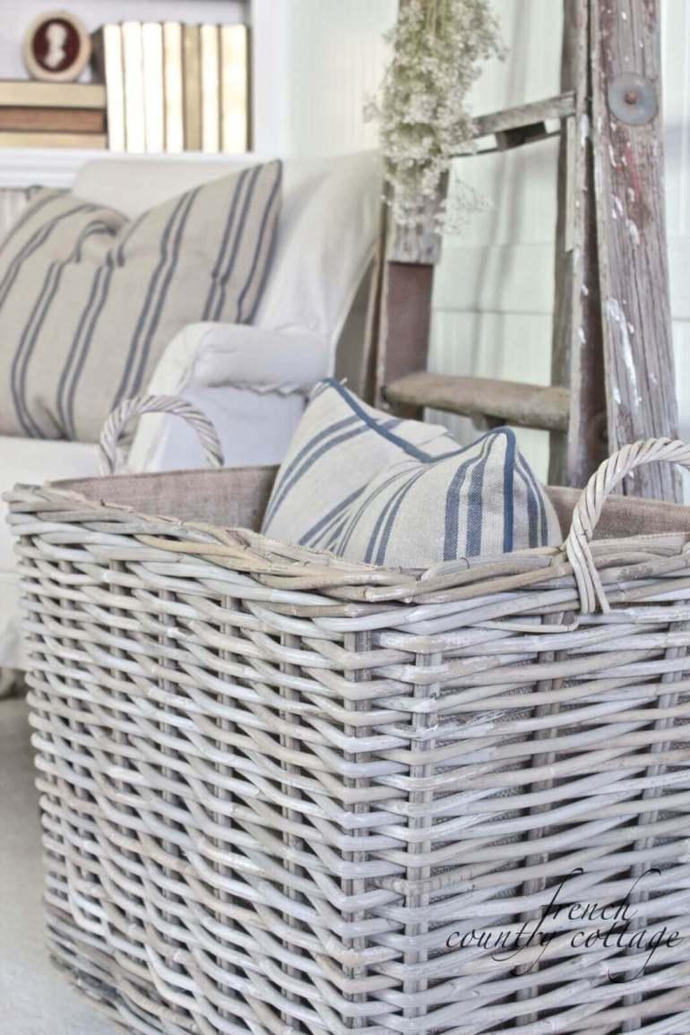 French Country Decor Ideas - Simple White Wicker Storage Basket - Harpmagazine.com