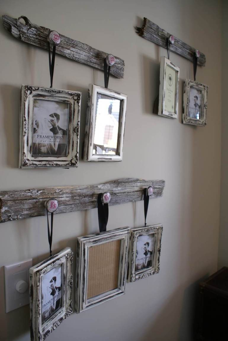 Rustic Wall Decor Ideas - Antique Drawer Pull Picture Frame Hangers - harpmagazine.com