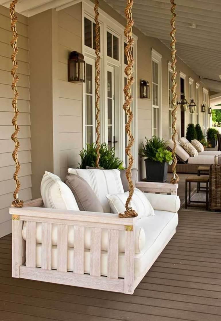 Farmhouse Porch Decorating Ideas - Bed-To-Porch Suspended Swing- Harpmagazine.com