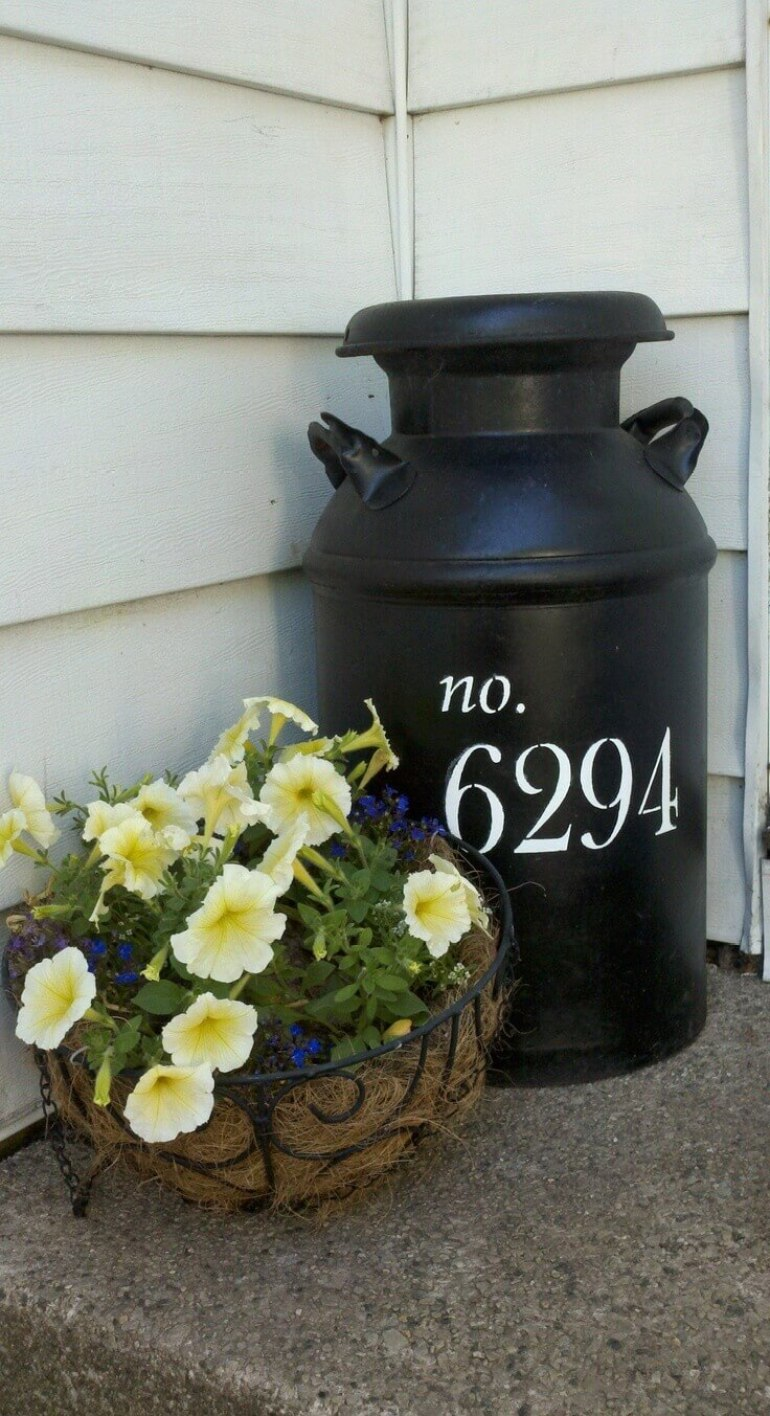 Front Door Flower Pots Ideas - Milk Can and Metal Basket Flower Display - harpmagzine.com